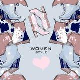 Illustration de modèle tiré par la main sans couture de femmes avec des chaussures d'hiver Chaussures d'elegand de mode pour la f Photo libre de droits