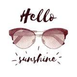 Illustration de mode d'aquarelle avec des lunettes de soleil d'isolement sur le fond et le lettrage blancs Image stock