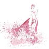 Illustration de mode d'aquarelle avec la belle fille Photographie stock