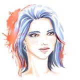 Illustration de mode d'aquarelle avec la belle fille Images stock