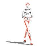 Illustration de mode d'aquarelle avec la belle fille Image stock