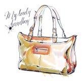 Illustration de mode d'aquarelle avec la bourse, sac à main brun femelle illustration libre de droits