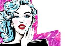 Illustration de mode de fille avec la main Fille de mode Invitation de partie Carte de voeux d'anniversaire Star de cinéma de Hol illustration stock