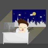 Illustration de mode de vie de bande dessinée d'homme de salaire de temps de travail de nuit de sommeil Illustration Stock