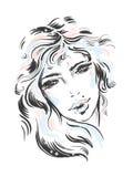 Illustration de mode Portrait d'une jeune belle fille de vecteur Modèle de croquis de visage de beauté illustration de vecteur