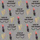 Illustration de mode Rouge à lèvres, illustration de coeur d'or Modèle Grey Background de mode illustration libre de droits