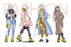 Illustration de mode de vecteur de la collection moderne de tissu d'automne de modèles de jeune fille au printemps d'isolement su illustration stock