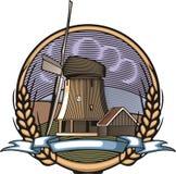 Illustration de moulin à vent de vecteur dans le style de gravure sur bois Agriculture biologique Images libres de droits