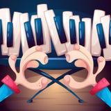 Illustration de musique Piano, synthétiseur, main et pied Photos libres de droits