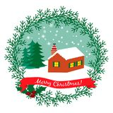 Illustration de Noël avec l'american national standard Santa Claus de maison dans la cheminée Photographie stock libre de droits