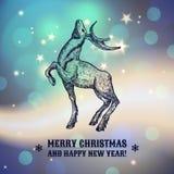 Illustration de Noël avec le renne La conception des cartes An neuf Photo stock