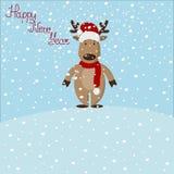 Illustration de Noël de bande dessinée Cerfs communs drôles dans le chapeau rouge de Santa, OIN illustration de vecteur