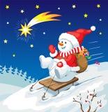 Illustration de Noël Bonhomme de neige sur le traîneau avec des cadeaux de Noël Photos stock