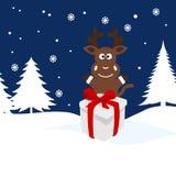 Illustration de Noël d'un cerf commun dans la neige Photographie stock libre de droits