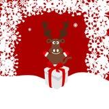 Illustration de Noël d'un cerf commun dans la neige Photographie stock