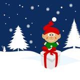 Illustration de Noël d'un lutin sur la neige Images stock