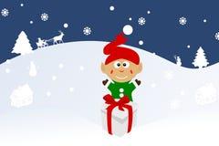 Illustration de Noël d'un lutin sur la neige Image libre de droits
