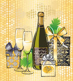 Illustration de Noël de champagne Images libres de droits