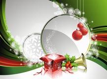 Illustration de Noël de vecteur avec le cadre de cadeau Images libres de droits