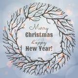 Illustration de Noël et de nouvelle année avec la guirlande illustration stock