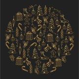 Illustration de Noël Objets de Noël Lucette de Noël, cloches, patins, biscuits, cadeaux, jouets, mitaines, bougies Photo stock