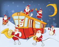Illustration de Noël Santa Claus Music Band Photographie stock libre de droits