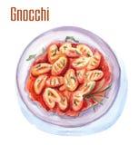 Illustration de nourriture d'aquarelle de Gnocchi images stock