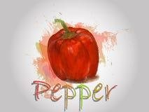 Illustration de nourriture de vecteur d'aquarelle de poivre Image libre de droits