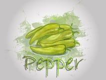 Illustration de nourriture de vecteur d'aquarelle de poivre Images stock