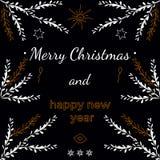 Illustration de nouvelle année de vacances avec des branches et Photos libres de droits