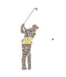 Illustration de nuage de tags de golfeur photo libre de droits
