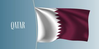 Illustration de ondulation de vecteur de drapeau du Qatar Élément iconique de conception illustration libre de droits