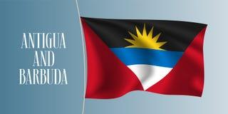 Illustration de ondulation de vecteur de drapeau de l'Antigua-et-Barbuda Image libre de droits