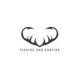 Illustration de pêche et de chasse avec des klaxons et la pêche de cerfs communs Photos stock