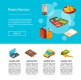 Illustration de page d'icônes d'hôtel de vecteur Concept de services hôteliers illustration stock