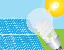 Illustration de panneaux solaires et d'ampoule d'Eco Photographie stock