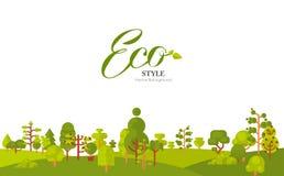 Illustration de papier de bannière ou de bande avec le lettrage, arbres verts et buissons au fond sur un fond blanc dedans Photographie stock