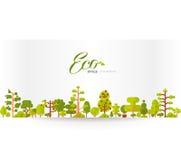 Illustration de papier de bannière ou de bande avec le lettrage, arbres verts et buissons sur un fond blanc dans le style plat Images stock