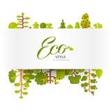 Illustration de papier de bannière ou de bande avec le lettrage, arbres verts et buissons sur un fond blanc dans le style plat Image libre de droits