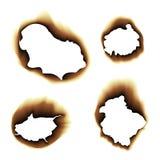 Illustration de papier roussie brûlée de trou sur le fond blanc Image libre de droits