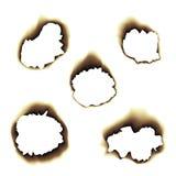 Illustration de papier roussie brûlée de trou sur le fond transparent Photo libre de droits