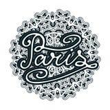 Illustration de Paris de vecteur sur le fond de mandala Rétro conception de typographie illustration manuscrite Photo stock