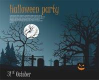 Illustration de partie de Halloween Potiron effrayant sur le cimetière, illustration stock