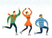 Illustration de patineurs de glace de bande dessinée Image libre de droits