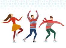 Illustration de patineurs de glace de bande dessinée Photographie stock