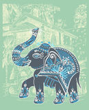 Illustration de paysage de Goa Baga d'Inde avec ethnique décoratif illustration de vecteur