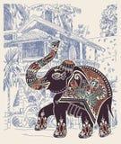 Illustration de paysage de Goa Baga d'Inde avec ethnique décoratif illustration stock