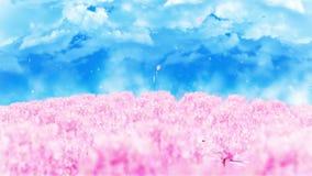 Illustration de paysage de forêt de ressort, fond abstrait de nature, animation de boucle de fleurs de cerisier, illustration de vecteur