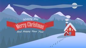 Illustration de paysage de Noël de nuit de conception simple Photos libres de droits