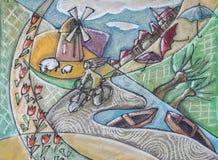Illustration de paysage typique de la Hollande illustration de vecteur